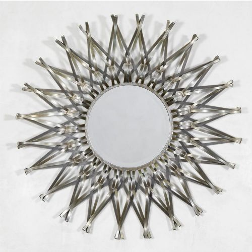 Sunburst Silver Geometric Metal Wall Mirror